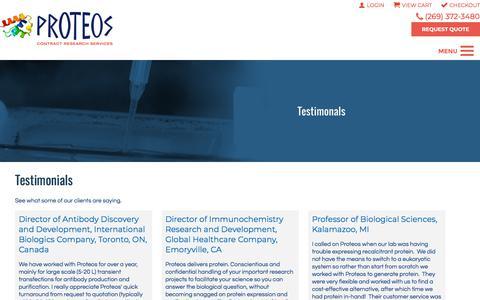 Screenshot of Testimonials Page proteos.com - Testimonials | Proteos, Inc. - captured June 30, 2018