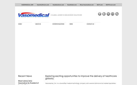 Screenshot of Home Page vasomedical.com - Vasomedical, Inc. | A Global Leader In Non-Invasive Healthcare - captured Feb. 13, 2016
