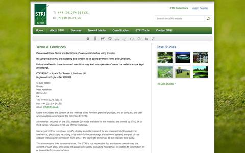 Screenshot of Terms Page stri.co.uk - Terms & Conditions | STRI - captured Oct. 3, 2014