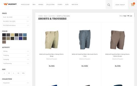 Screenshot of wildcraft.in - Buy Wildcraft Mens Trousers & Shorts Online for Hiking & Trekking - captured March 19, 2016