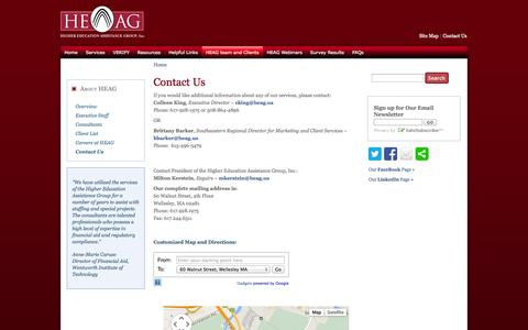 Screenshot of Contact Page heag.us - Contact Us | The Higher Education Assistance Group, Inc. ~ Higher Education Consulting and Financial Aid Consulting - captured Oct. 3, 2014