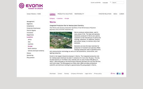 Evonik Industries - Specialty chemicals - Site Worms, Germany - Evonik Industries - Specialty Chemicals