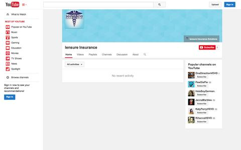 Screenshot of YouTube Page youtube.com - Iensure Insurance  - YouTube - captured Nov. 3, 2014