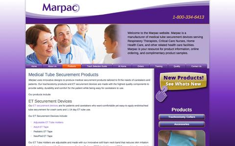 Screenshot of Products Page marpac.biz - Medical Tube Securement Products - captured Feb. 16, 2016
