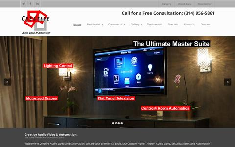 Screenshot of Home Page creativeavandautomation.com - St. Louis, MO   Home Theater   Audio   Automation - Commercial Design / Install   Alarm   Security - captured Oct. 3, 2014