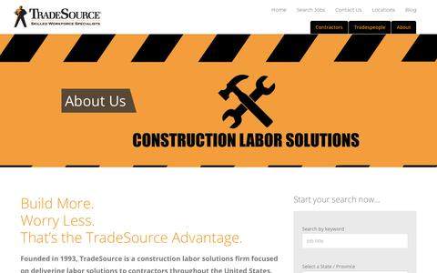 Screenshot of About Page tradesource.com - About   TradeSource - captured Nov. 8, 2017