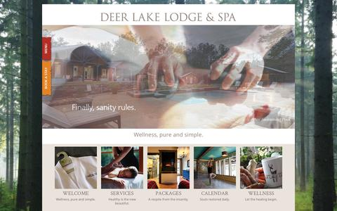Screenshot of Home Page deerlakelodge.com - Deer Lake Lodge | Wellness, pure and simple. - captured Sept. 30, 2014