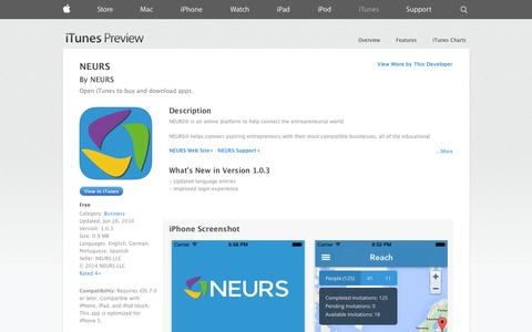 Screenshot of iOS App Page apple.com - NEURS on the App Store on iTunes - captured Oct. 23, 2014