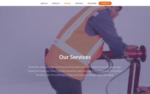Screenshot of Services Page bromindo.com - Servis Sistem Proteksi Kebakaran Terpercaya Bromindo - captured Oct. 6, 2018