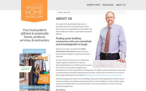 Screenshot of About Page smarterhomeguide.com - About Us | Smarter Home Guide - captured Oct. 22, 2017