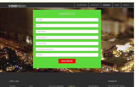 Screenshot of Contact Page venzimedia.com - Contact Us - VenziMedia | Cross Device and Cross Platform Advertising - captured Aug. 12, 2016