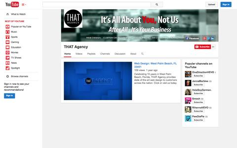 Screenshot of YouTube Page youtube.com - THAT Agency  - YouTube - captured Oct. 25, 2014