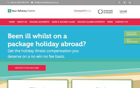 Screenshot of Home Page yourholidayclaims.co.uk - Holiday Illness Claims – Holiday Compensation Solicitors - captured Oct. 18, 2017