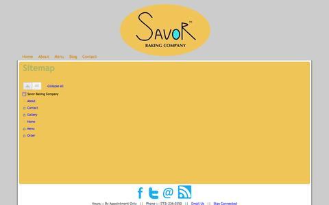 Screenshot of Site Map Page savorbaking.com - Sitemap - Savor Baking Company - captured Oct. 4, 2014