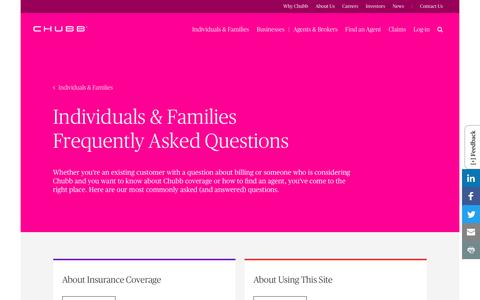 Screenshot of FAQ Page chubb.com - Individuals & Families Frequently Asked Questions - Chubb - captured Aug. 23, 2018