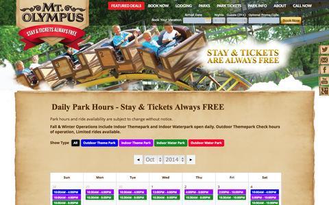 Screenshot of Hours Page mtolympuspark.com - Park Info - Wisconsin Dells | Mt. Olympus Water & Theme Park Resort - captured Oct. 26, 2014