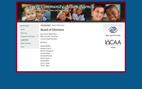 Screenshot of Team Page carvercaa.com - Board of Directors | Carver Community Action Agency - captured Oct. 2, 2014