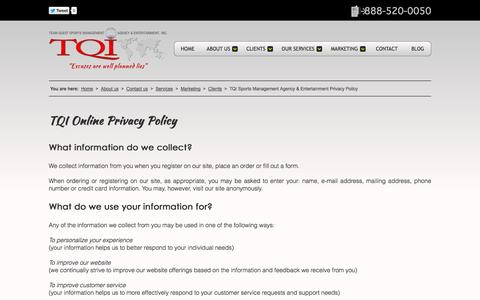 Screenshot of Privacy Page tqisportsagency.com - TQI Sports Management Agency & Entertainment Privacy Policy - captured Oct. 6, 2014