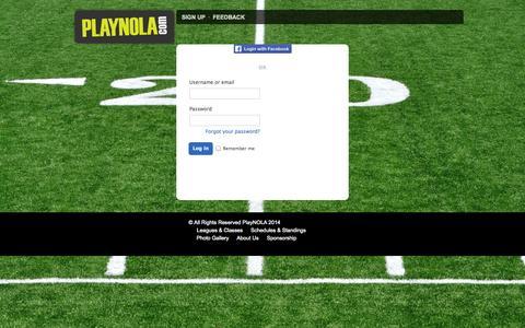 Screenshot of Login Page playnola.com - Login : PLAYNOLA Sports & Social - captured Oct. 30, 2014