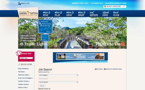 Screenshot of Jobs Page sanibel-captiva.org - Job Search - Sanibel Island - Captiva Island - captured Aug. 27, 2016