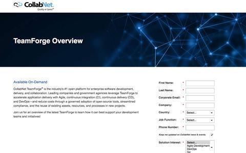 Screenshot of Landing Page collab.net - TeamForge Overview Webinar - captured Nov. 2, 2016