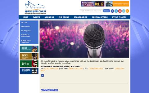 Screenshot of Contact Page mscoastcoliseum.com - Contact | Mississippi Coast Coliseum - captured Sept. 30, 2014