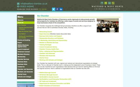 Screenshot of About Page watfordchamber.co.uk - About Watford and West Herts Chamber of Commerce:: Watford Chamber of Commerce - captured Nov. 5, 2014