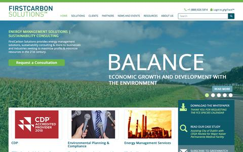 Screenshot of Home Page firstcarbonsolutions.com - Energy Management Solutions | Sustainability Consulting | Firstcarbonsolutions - captured Sept. 25, 2018