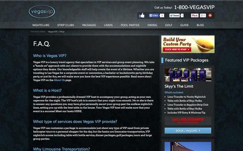 Screenshot of FAQ Page vegasvip.com - Las Vegas VIP Nightlife F.A.Q.   Vegas VIP - captured Oct. 26, 2014