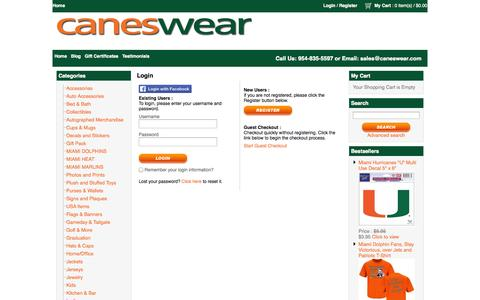 Screenshot of Login Page caneswear.com - Miami FanWear apparel and merchandise - captured Sept. 27, 2014