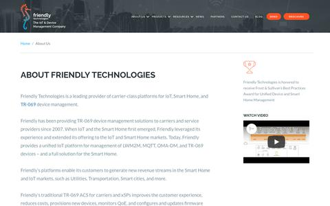 Screenshot of About Page friendly-tech.com - About Us | Friendly Tech, Leading Provider of Carrier-Class Platforms - captured Oct. 11, 2018