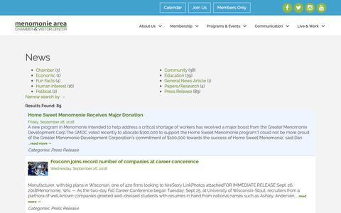 Screenshot of Press Page menomoniechamber.org - News - Menomonie Area Chamber of Commerce - captured Sept. 30, 2018