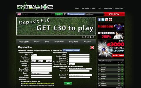 Screenshot of Signup Page football1x2.com - Register to Football1x2 - captured Sept. 25, 2014
