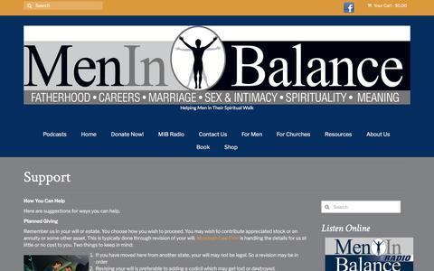 Screenshot of Support Page meninbalance.org - Support – Men in Balance - captured Sept. 20, 2018