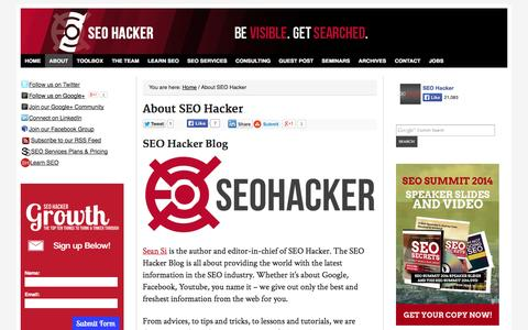Screenshot of About Page seo-hacker.com - About SEO Hacker Philippines - captured Sept. 18, 2014