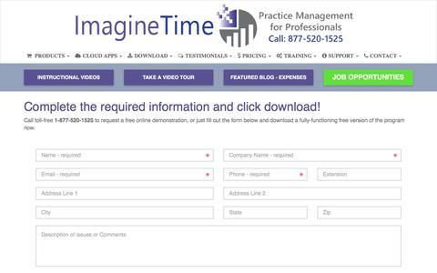 Screenshot of Trial Page imaginetime.com - Download Free Demo Version of ImagineTime Software - captured Sept. 14, 2018