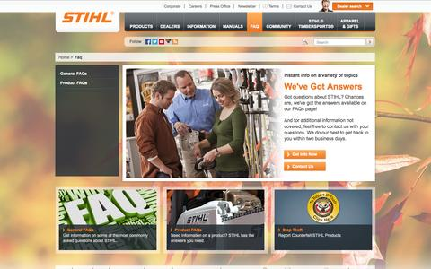 Screenshot of Contact Page FAQ Page stihlusa.com - FAQ: Frequently Asked Questions About STIHL | STIHL USA - captured Oct. 25, 2014