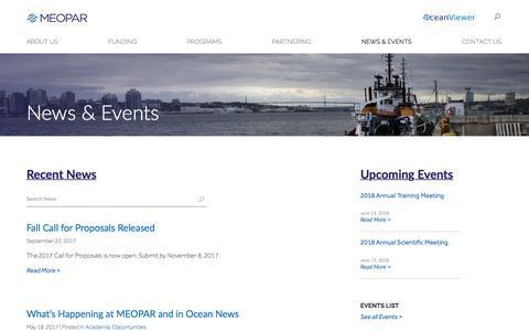 Screenshot of Press Page meopar.ca - News & Events | MEOPAR - captured Oct. 6, 2017