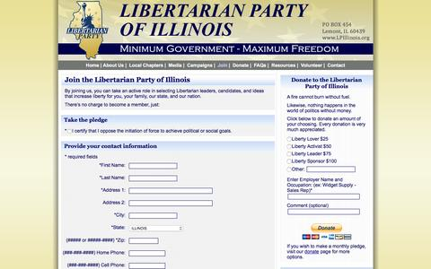 Screenshot of Signup Page lpillinois.org - Join the Libertarian Party of Illinois - captured Jan. 28, 2016