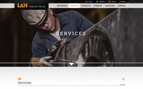 Screenshot of Services Page lnh.net - Services | L&H Industrial - captured Jan. 23, 2016