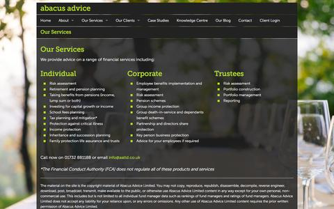 Screenshot of Services Page aaltd.co.uk - Our Services | Abacus Advice - captured Feb. 5, 2016