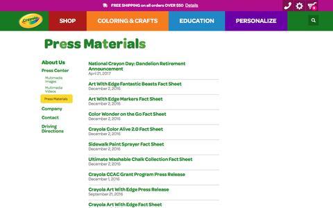 Screenshot of Press Page crayola.com - Press Materials | crayola.com - captured June 2, 2017