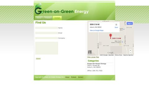 Screenshot of Contact Page greenongreenenergy.com - Green on Green - captured Sept. 30, 2014
