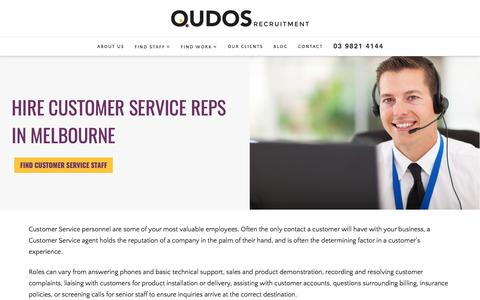Screenshot of Support Page qudos.com.au - Hire Customer Service Staff Melbourne - captured Sept. 13, 2017