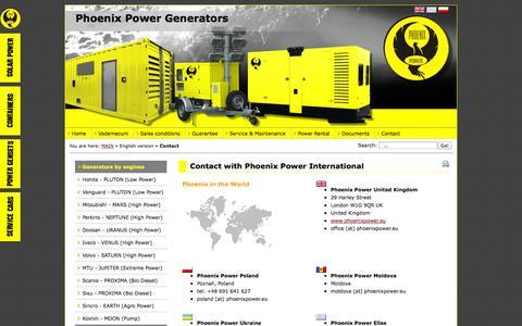 Screenshot of Contact Page phoenixpower.eu - Phoenix Power  - Contact with Phoenix Power International - captured Oct. 2, 2014