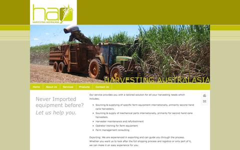 Screenshot of Services Page harvestingaustralasia.com.au - Services - Harvesting Australasia - captured Sept. 29, 2014
