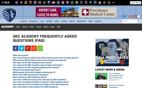 Screenshot of FAQ Page sportingkc.com - SKC Academy Frequently Asked Questions (FAQ) | Sporting Kansas City - captured Oct. 21, 2015