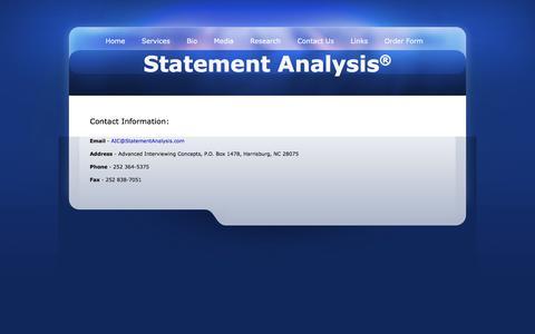 Screenshot of Contact Page statementanalysis.com - Statement Analysis Contact Information - captured Feb. 5, 2016