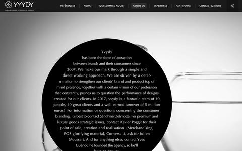 Screenshot of About Page yvydy.fr - yvydy I Agence conseil en design de marque » About us - captured Nov. 11, 2017