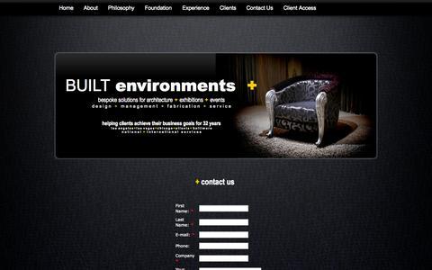Screenshot of Contact Page built-environments-plus.com - BUILT environments plus - captured Sept. 30, 2014